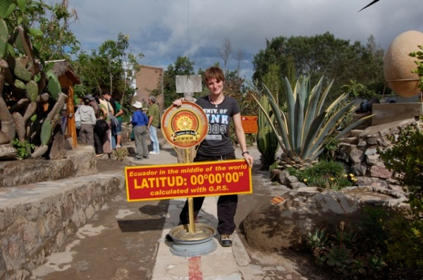 Jenny on the Equator, near Quito, Equador